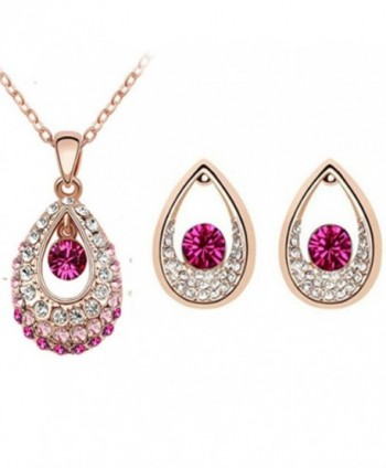 MAFMO Hot Sell Colorful Tear Drop Jewelry set Wedding Pendant Necklace Earrings - Rose Gold-Pink - C3127YK1OZP
