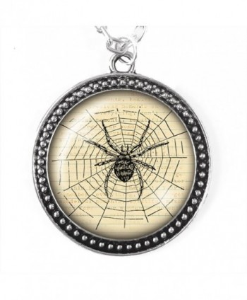 Vintage Spider Necklace- Silver Pendant with Domed Glass - C412IO4IZHF