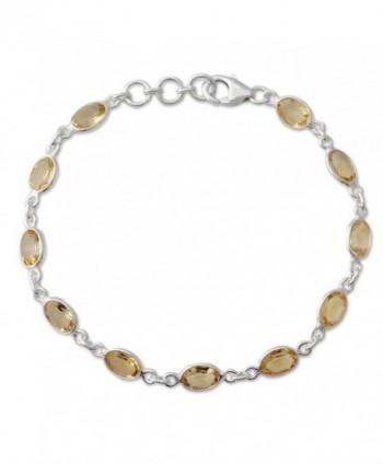 "NOVICA Citrine .925 Sterling Silver Tennis Bracelet- 7"" 'Romantic Yellow' - CM12E05UXEP"