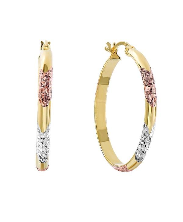 Sterling Silver Tri-Color Diamond-cut Hoop Earrings- 1.1'' Diameter - C312D5VHD6V