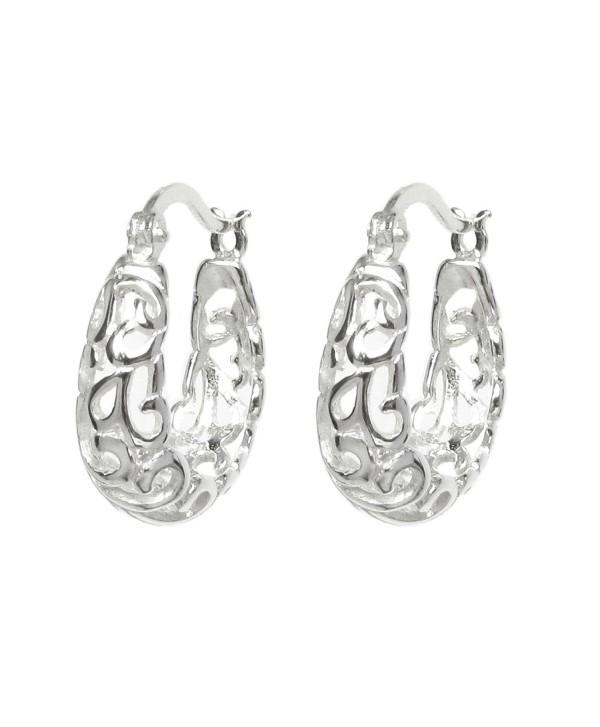 Sterling Silver Filigree Flower Ring Hoop Huggie Hoop Earrings - CJ11QXX8OYT