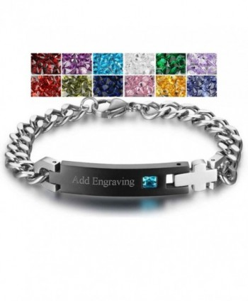 Mathching Bracelets Personalized Simulate Birthstone - Black (Male) - C8189I7AYNM
