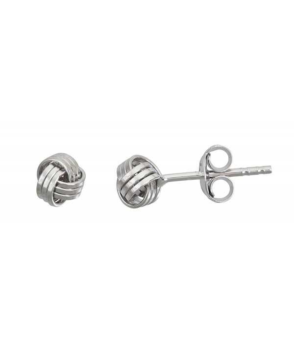 Sterling Silver 5MM White- Yellow- Rose Polished Love Knot Stud Earrings - CO12LPGP4L9