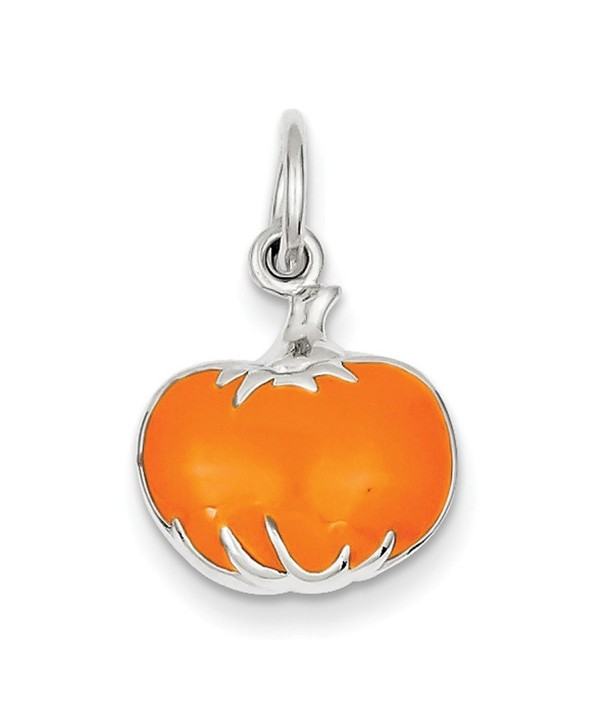 Sterling Silver Orange Enameled Pumpkin Charm - CK113PTDDWR