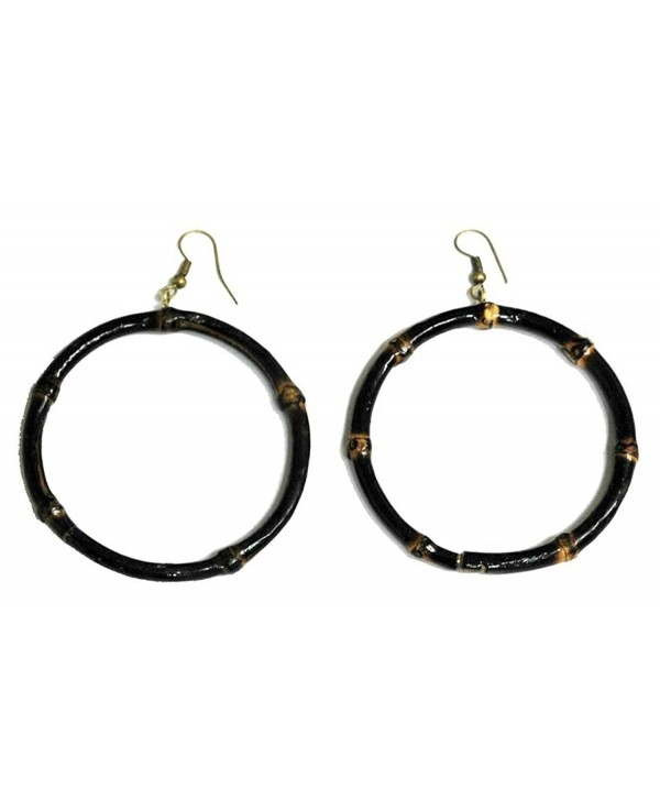 "Bamboo Wood Large 3"" Diameter Hoop Earrings- Burnt Bamboo Color - Burnt Bamboo - CH17YITN4WY"