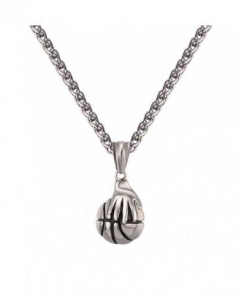 "Basketball Necklace Stainless Steel Chain 22"" Hand Playing Basketball Sport Jewelry - stainless - CZ185QS9H7A"