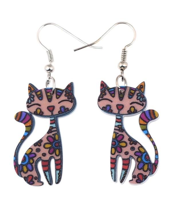 Bonsny Sweet Dangle Sitting CAT Earrings Acrylic Long Drop For Girls Women Pattern Jewelry - CB1292GD6B9