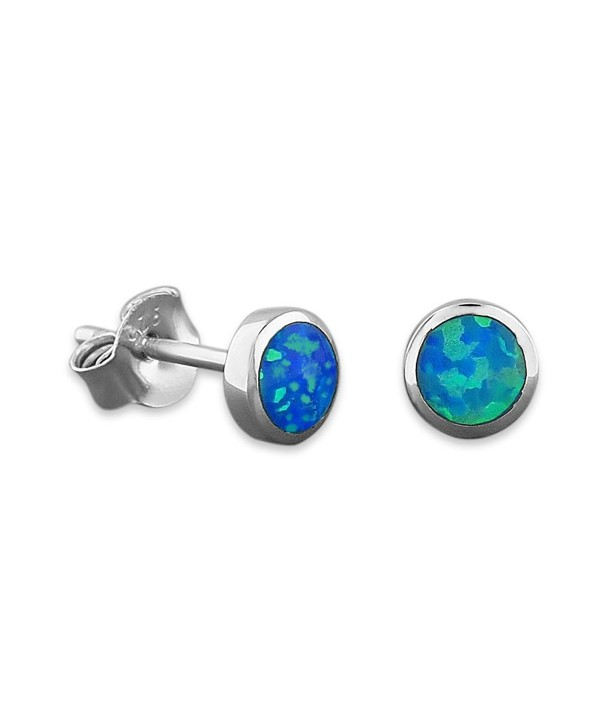 Sterling Silver Synthetic Blue Opal Circle Stud Earrings Mini XS 5mm - CH11H5P9GKF