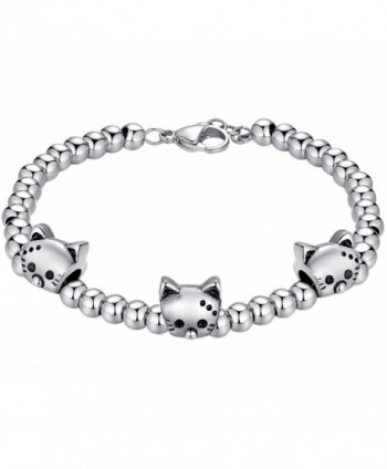 Aoiy Stainless Steel Beads and Charms Unisex Bracelet - Cat - C412EGBTDRL