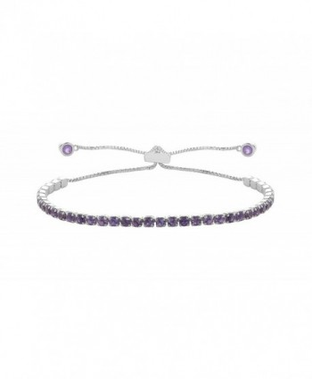 NYC Sterling Women .925 Silver Genuine Gemstone 2MM Adjustable Tennis Bracelet - Amethyst - CN186LN4UA3