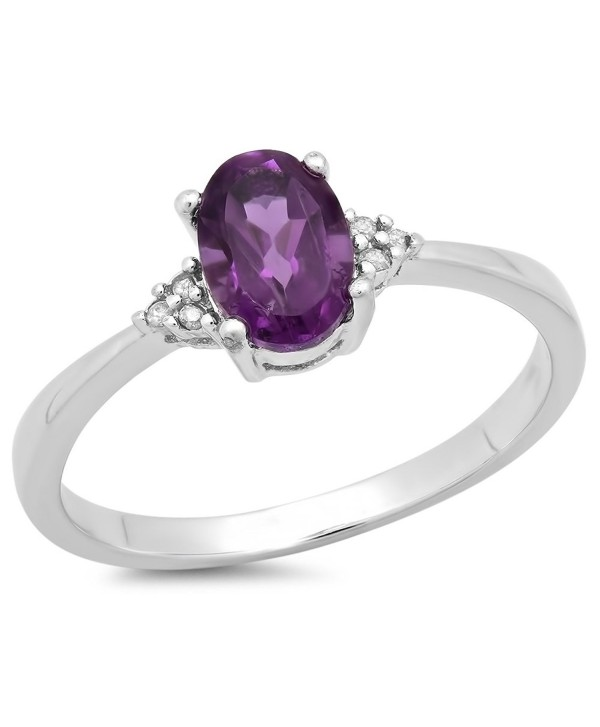 0.88 Carat (ctw) Sterling Silver Oval Cut Amethyst & Round Diamond Accents Bridal Promise Engagement Ring - C111SGCBUX7