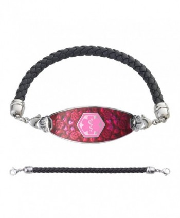 Divoti Custom Engraved Blooming Cherry Blossom Medical Alert Bracelet -Black Braided Leather Chain -Pink - CF183CDEMLI