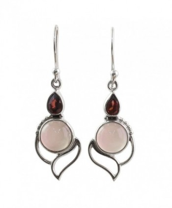 NOVICA Multi-Gem Chalcedony .925 Sterling Silver Dangle Earrings 'Pink Crest' - CB12O2UCCFM