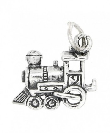 Sterling Silver Oxidized Medium Size One Sided Choo Choo Train Engine Charm - C6115U3D4R5