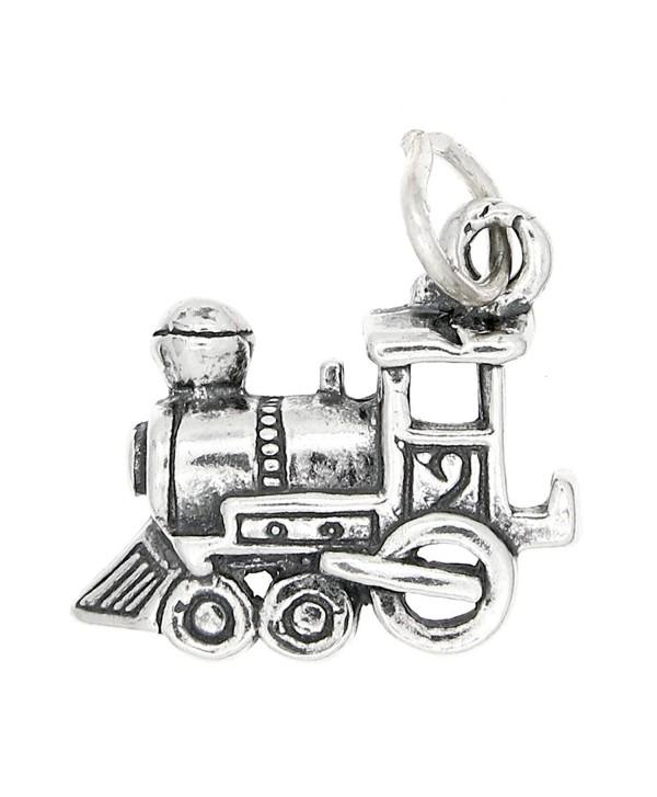 Sterling Silver Oxidized Medium Size One Sided Choo Choo Train Engine Charm - C6115U3D4R5