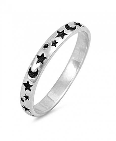 Sterling Silver Moon and Star Ring Band ( Size 2 to 12) - C5185U58IWR