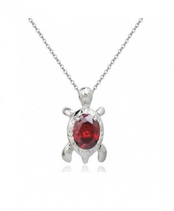 "Turtle Pendant Necklace with Red Zirconia Crystals 18 ct White Gold Plated for Women and Girls 18"" - CR12MAHIILV"
