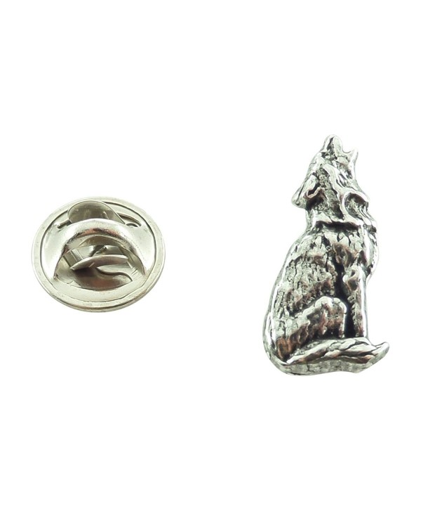 Creative Pewter Designs- Pewter Wolf Howling Mini Pin- Antiqued Finish- M042MP - CI127C08EH3