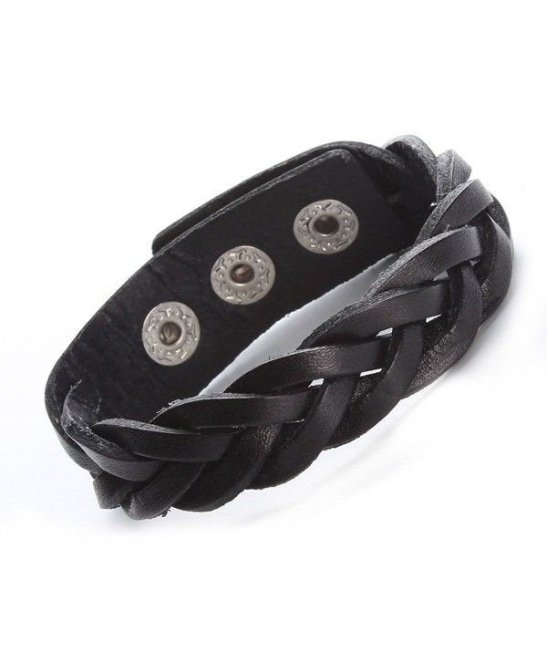 Leather Bracelet Black Brown Tone Braided Wide Wristband Women Men Punk Jewelry With Gift Box - black - C11879KG43A