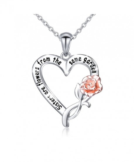 S925 Sterling Silver Sisters Are Flowers From The Same Garden Pendant Necklace and Bangle - CT186T3LQGT