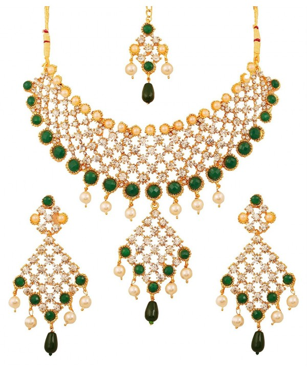 Touchstone gold tone Indian bollywood green faux emeralds/pearls bridal jewelry necklace set for women - CM12L5AYSQ1