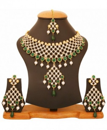 Touchstone bollywood emeralds jewelry necklace