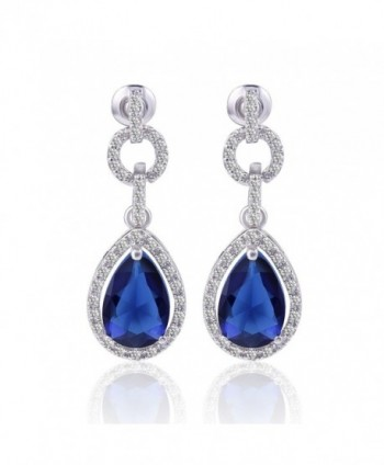 GULICX Silver Plated Base Pear Circle Flawless Cubic Zirconia Blue Dangle Drop Earrings Sapphire Color - C9128BQN5Q7
