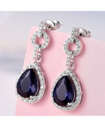 GULICX Flawless Zirconia Earrings Sapphire in Women's Drop & Dangle Earrings