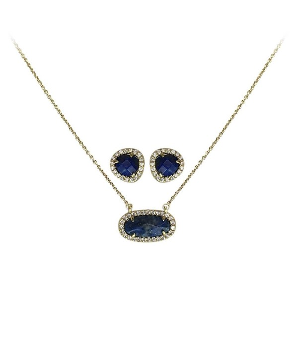 Kitsch Semi Precious Necklace Sterling Zirconia - Lapis - CL188T68ZZI