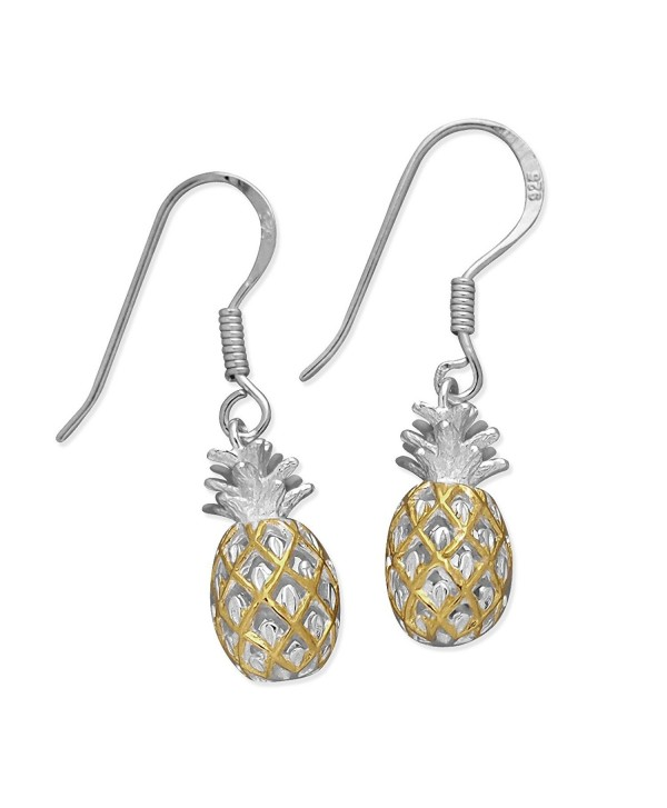 Sterling Silver with 14kt Yellow Gold Plated Accents Pineapple Dangle Earrings - CD1146ODCCL