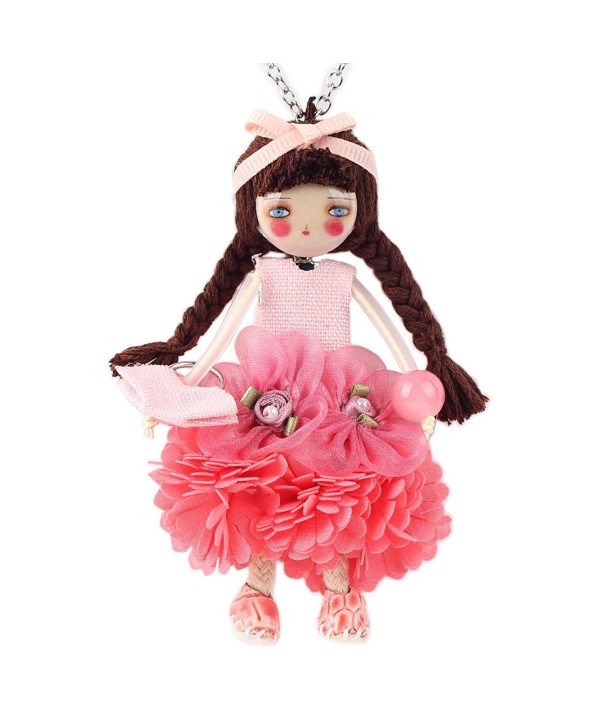Paris Handmade Doll Necklace Dress Pendant News Alloy Flower Long Chain Fashion Jewelry Lovely Design - Pink - CU12IZ0O24D