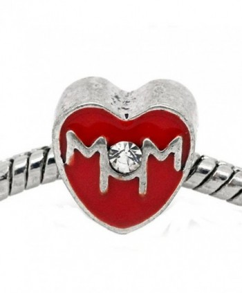 "Mother Day ""Mom"" Red Heart Bead for Snake Chain Charm Bracelet - C911FG8C4TN"