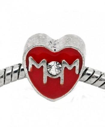 "Mother Day ""Mom"" Red Heart Bead for Snake Chain Charm Bracelet - C911FG8C4TN"