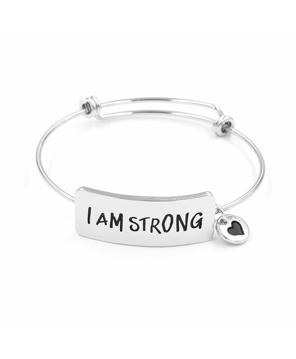 Personalized Bracelets for Women I Am Strong Inspirational Christian Quotes Expandable Wire Jewellery - Silver - CH187IWLMK4