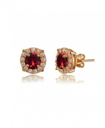Rose Gold Flashed Sterling Silver 5mm Round Halo Fancy Stud Earrings created with Swarovski Crystals - July - Red - C0185XEOYWH
