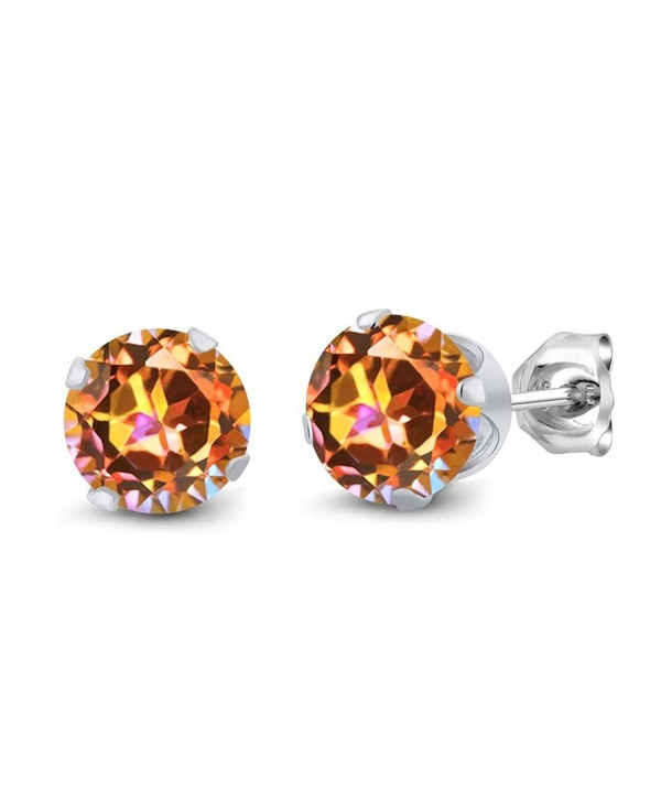 1.90 Ct Round Ecstasy Mystic Topaz 925 Silver 4-prong Women's Stud Earrings 6mm - CK1174K2LZ3