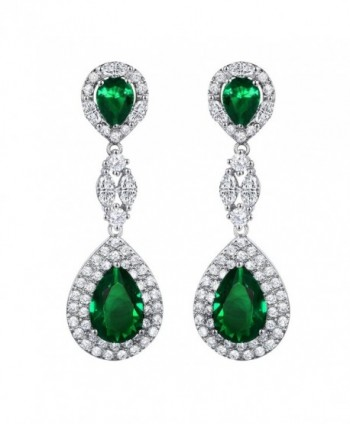 SELOVO Wedding Party Teardrop Drop Dangle Earrings Jewelry Silver Tone - Green - CT12H55G18J
