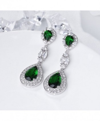 SELOVO Emerald Vintage Zirconia Earrings in Women's Drop & Dangle Earrings