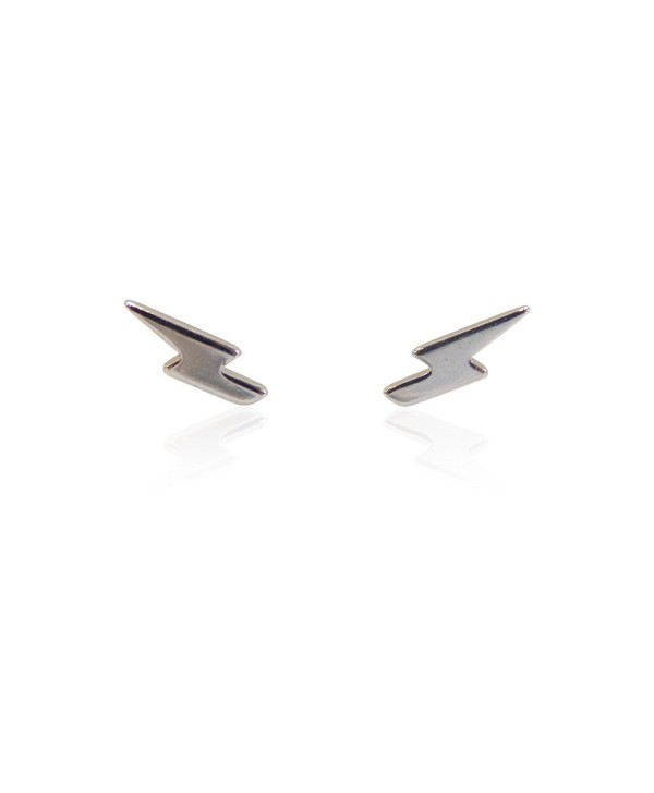 Beaute Fashion Lightening Bolt Stud Earrings Sterling Silver .925 - Gift Boxed GREAT GIFT - CO12CMROFPB
