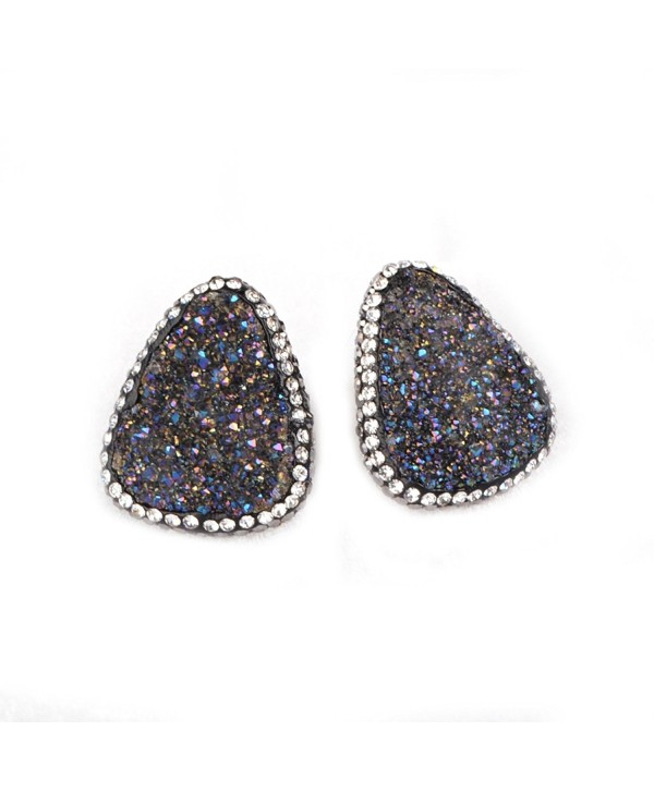 ZENGORI Sliver Plated Triangle Agate Druzy Geode Earrings With Zircon - Black - CK120925UWX