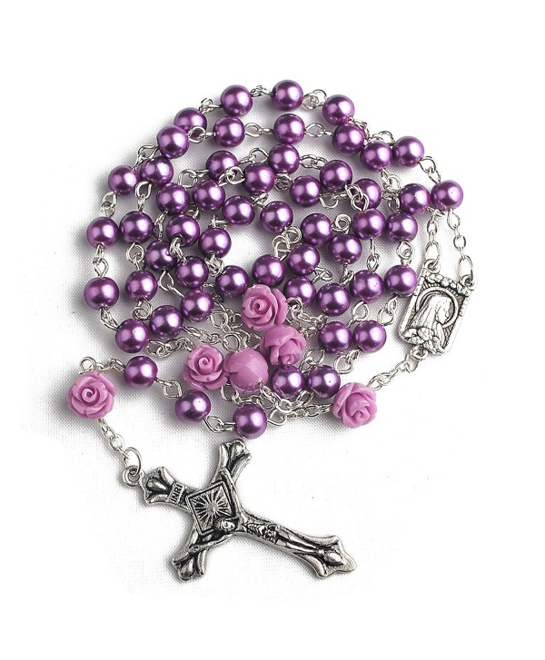 Hedi 6mm Purple Color Pearl Beads Rosary with 6pcs Our Rose Our Facther Beads - C812C6WWAH1