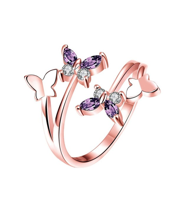 YEAHJOY Women's Adjustable Size Volly Open Rings Butterfly Shape Purple Austrian Crystals Rings - C917YKZYARQ