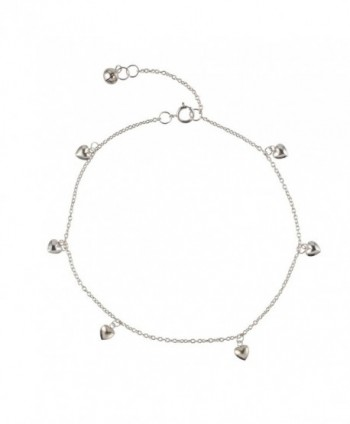 Silverly Women's .925 Sterling Silver Love Heart Charm Anklet Ankle Chain Bracelet- 24+ 3cm Extender - CQ11RUO2MS9