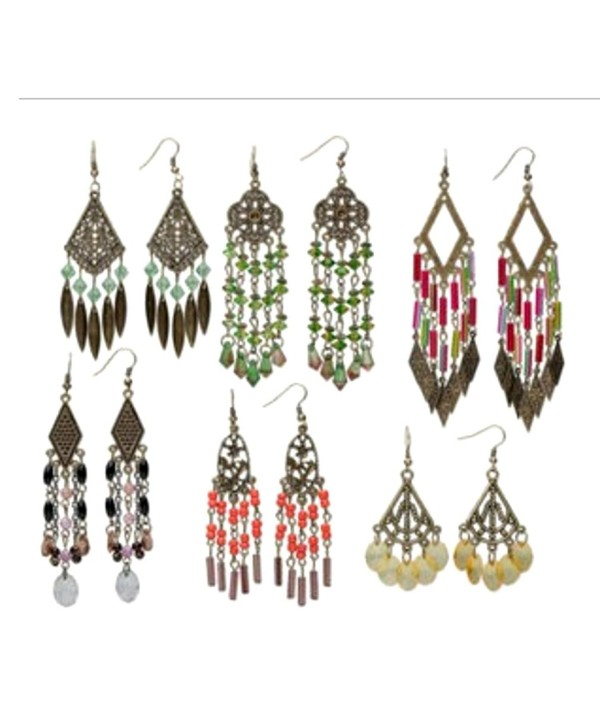 6 Pair Chandelier Boho Earrings Antiqued Brass Mix Hook Earwires Steampunk - C411HQVQM3H