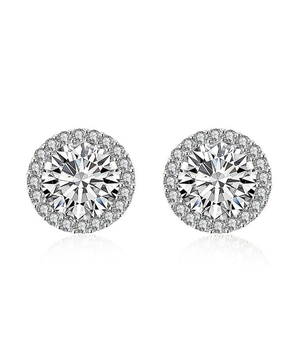 White Gold Plated Round Halo Stud Earrings For Women Girls Cubic Zirconia Crystal CZ Earring - C8188DYTT4C