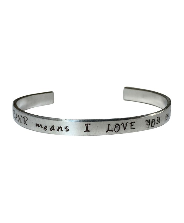 "Rawr Means I Love You In Dinosaur Hand Stamped 1/4"" Aluminum Cuff Bracelet - CJ12NFFJ367"