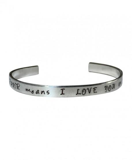 """Rawr Means I Love You In Dinosaur Hand Stamped 1/4"""" Aluminum Cuff Bracelet - CJ12NFFJ367"""