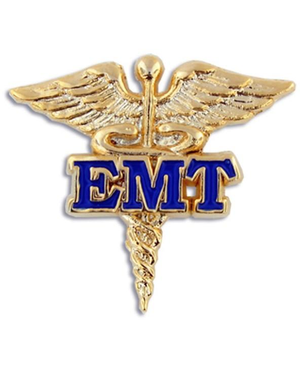 PinMart's EMT Caduceus Gold and Blue Medical Enamel Lapel Pin - CI119PEM55R