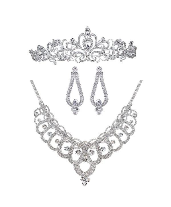 Bella-Vogue Rhinestone Crystal Statement Bridal Necklace + Earrings + Crown Jewelry Sets-NO.159 - CL11YPAI441