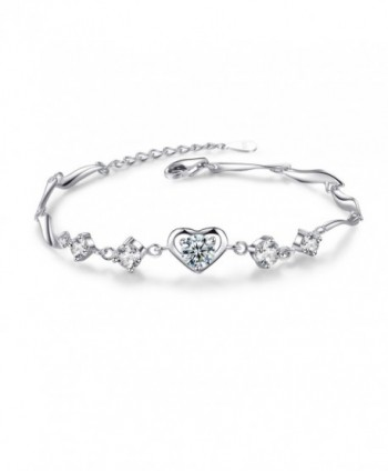 Heart Bracelet For Women- Sterling Silver Love Heart Adjustable CZ Charm Bracelet - CX1874IYNYL